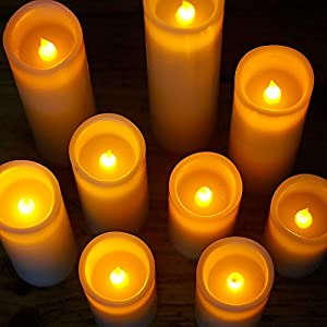 """RY King Battery Operated Flameless Candles 4"""" 5"""" 6"""" 7"""" 8"""" 9"""" Set of 9 Real Wax Pillar LED Flickering Candles with Remote Control and Timer"""