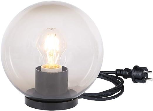 Lámpara esférica de colores ahumados, bolas de 25 cm, lámpara de jardín con bombilla LED, lámpara de terraza con cable de goma, lámpara de exterior redonda: Amazon.es: Iluminación