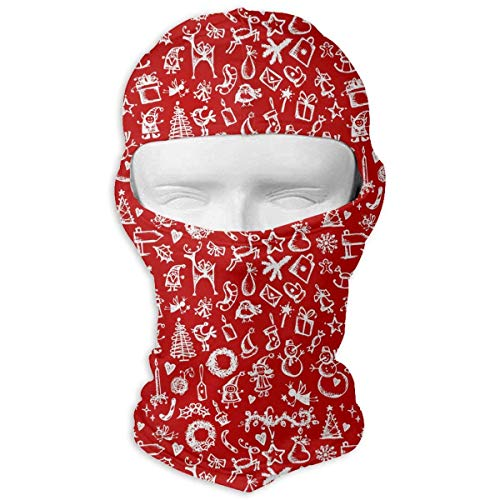HANBINGPO Sketch Red Christmas Snowflake Gift Men Women Balaclava Neck Hood Full Face Mask Hat Sunscreen Windproof Breathable