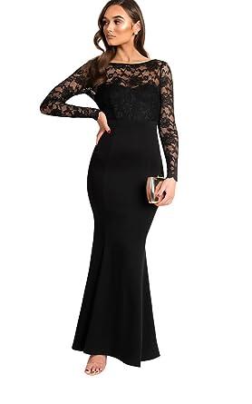 01a4a3a90a3 Ikrush Womens Bella Lace Fishtail Maxi Dress Black  Amazon.co.uk  Clothing