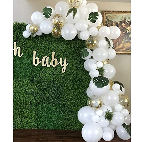 Topllon White Balloons Gold Confetti Balloons 12 Inch 101 PCS, Matte Latex Balloons Garland Arch Kits for Wedding Decoration Baby Shower Bachelorette Birthday -