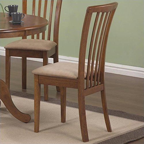 101092 Brannan Side Chair with Upholstered Seat in Warm Maple Finish (Set of