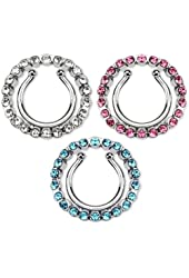 Nipple Rings non pierce pair Clip On Nipple Ring with Multi Paved Gem Cicle