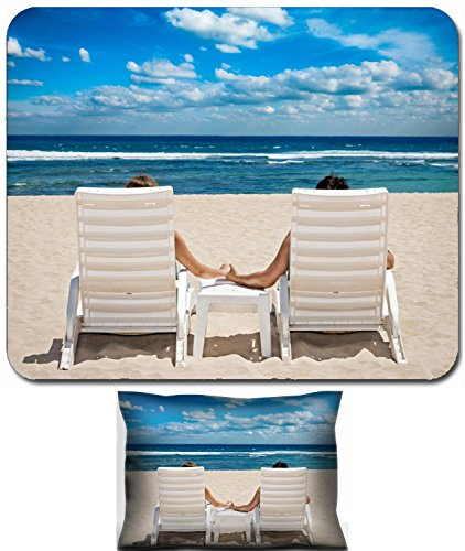Luxlady Mouse Wrist Rest and Small Mousepad Set, 2pc Wrist Support design IMAGE: 34203913 Couple in beach chairs holding hands near (Best Luxlady Mousepad Beach Chairs)