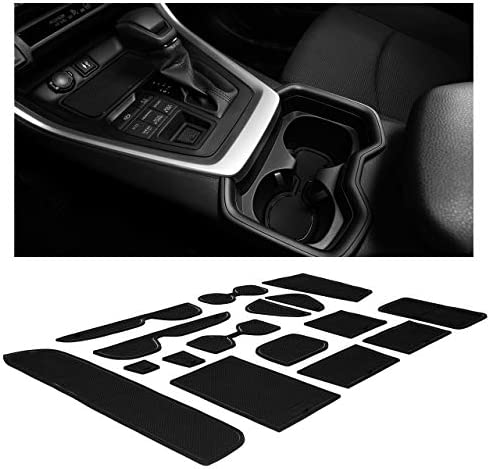 CupHolderHero fits Toyota RAV4 Accessories 2019-2022 Premium Custom Interior Non-Slip Anti Dust Cup Holder Inserts, Center Console Liner Mats, Door Pocket Liners 15-pc Set (Solid Black)