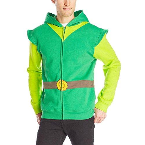Link Costume Skyward Sword (Link Hood Men's Hoodie,Green/Gray,XX-Large)