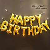 Toys : Happy Birthday Balloons,Aluminum Foil Banner Balloons for Birthday Party Decorations and Supplies -Gold