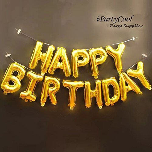 Happy Birthday Balloons,Aluminum Foil Banner Balloons for Birthday Party Decorations and Supplies -Gold