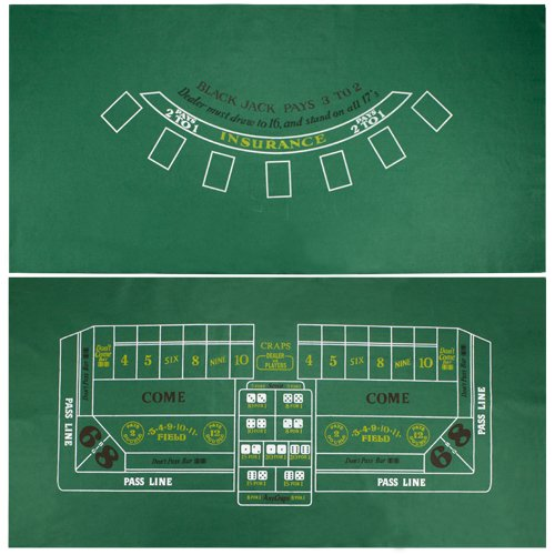 Brybelly Blackjack and Craps Table Felt, 72'' x 36'' by Brybelly