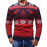 FANOUD Men's Blouse Autumn Winter Christmas Deer Snowflakes Long Sleeve Print Top