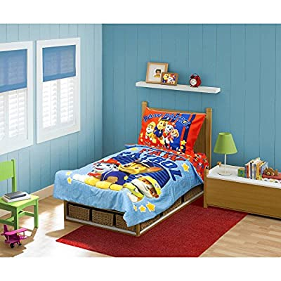 """Paw Patrol """"Here to Help"""" Reversible Toddler Twin Bedding Set for Boys (4 Piece in a Bag)"""