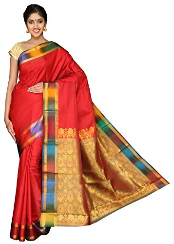Pavecha's Women's Pavecha's Mysore Silk Saree Free Size Red