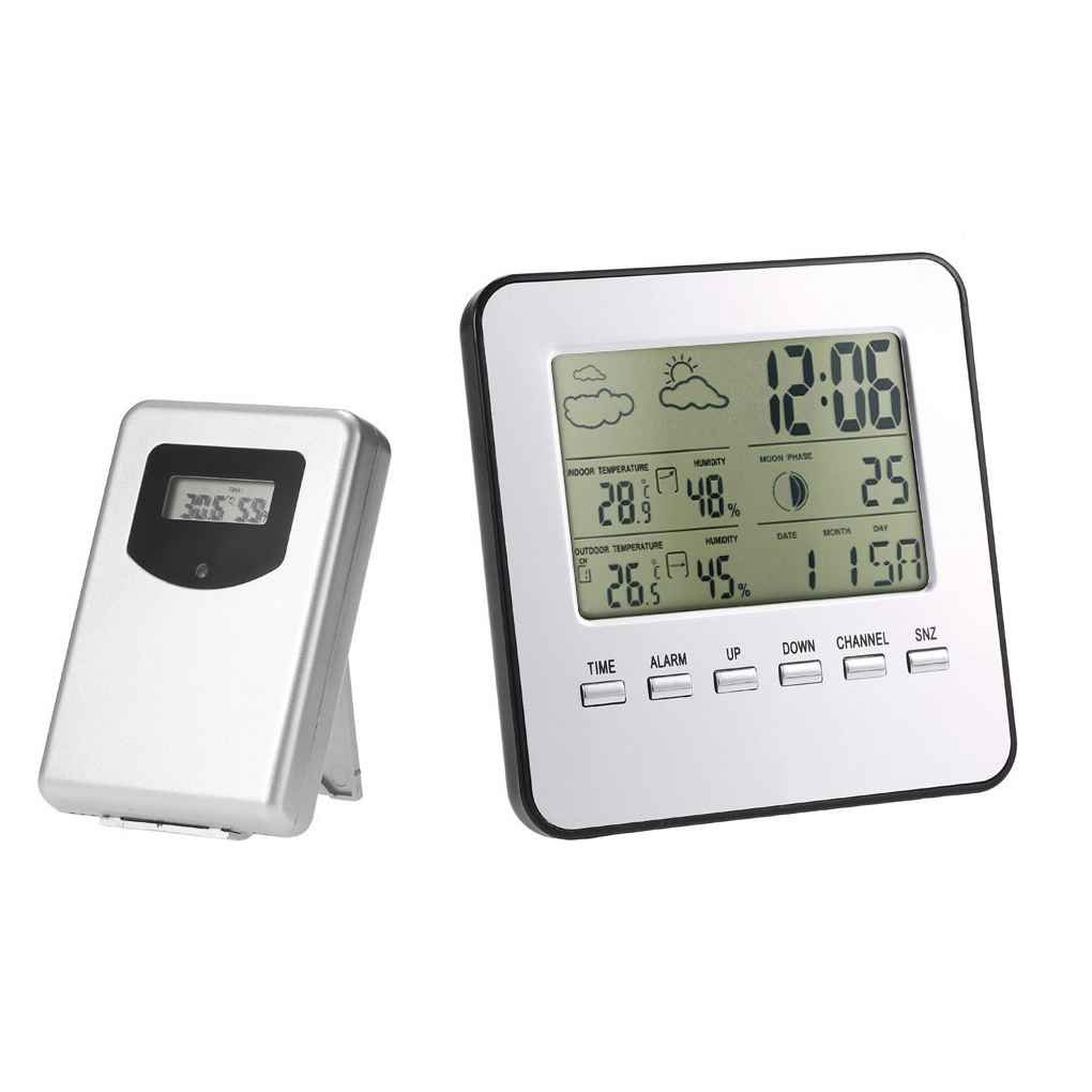 Loria Temperature Clock Wireless LCD Digital Indoor Outdoor Weather Station Thermometer Hygrometer Weather Forecast Alarm Clock