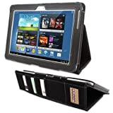 Galaxy Note 10.1 Case, Snugg Executive Black Leather Smart Case Cover Samsung Galaxy Note 10.1 Protective Flip Stand Cover With Auto Wake/Sleep