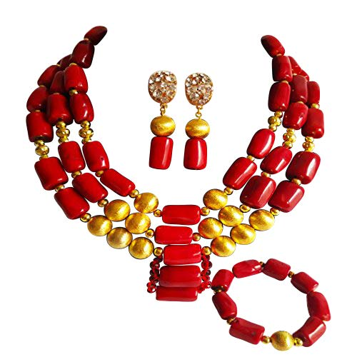 laanc African Nigerian Coral Fashion Womens Bridal Wedding Jewelry Sets ()