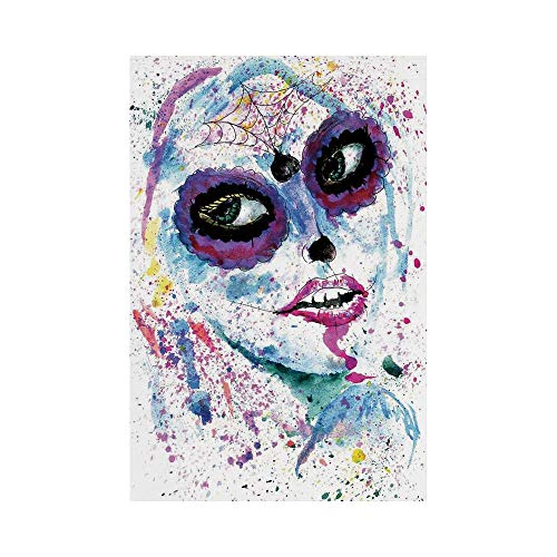 Polyester Garden Flag Outdoor Flag House Flag Banner,Girls,Grunge Halloween Lady with Sugar Skull Make Up Creepy Dead Face Gothic Woman Artsy,Blue Purple,for Wedding Anniversary Home Outdoor Garden -