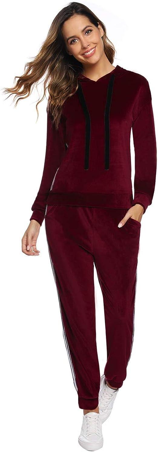 Pantaloni a Velluti Abollria Tuta Donna Sportiva da Ginnastica per Primavera Autunno Inverno Completi Sportivi Due Pezzi Pigiama Set Pullover con Cappuccio