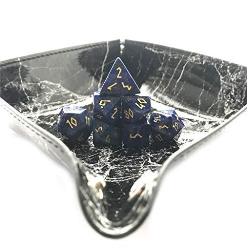 Truewon Stone Dice , Set of 7 Handmade Dice for RPG ,DND Made by Natural Gemstones. (Lapis Lazuli ()