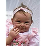 """NPK Reborn Baby Doll Girl Look Real Silicone Vinyl 22"""" Weighted Body Realistic Pink Dress Cute Doll Gift Set for Ages 3+"""