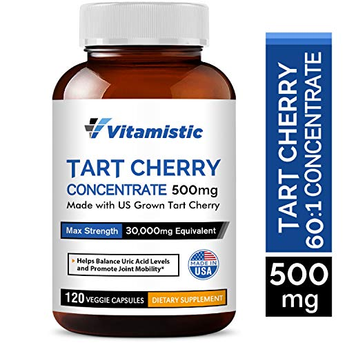 Tart Cherry Concentrate 500mg, 120 Veggie Caps, Potent 60:1 Extract of US Grown Organic Tart Cherries, Non-GMO Gluten-free Soy-free, Rich in Antioxidants, Supports Joint & Muscle Health & Better Sleep