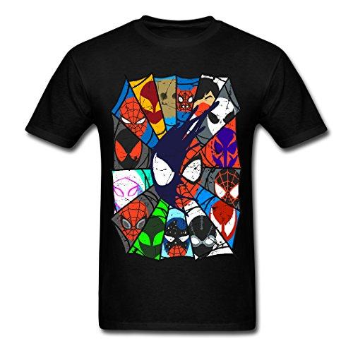 New Design Funny Cartoon Spider Man Graphic Printed Men's Summer Casual Black Cotton Short Sleeve Slim T-shirt Large