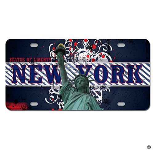 MsMr Funny License Plate Cover with 4 Holes New York State Statue Of Liberty Designed Decorative Metal Car License Plate Auto Tag