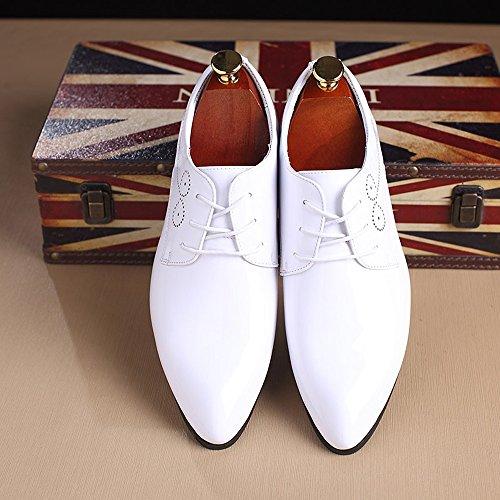 In Le Formali color Eleganti Stringate 39 scarpe Oxford Eu Liquidazione Uomo Blu scarpe Da Dimensione Bianca Vernice Lavoro Hilotu Sposa Scarpe qZX0vxO
