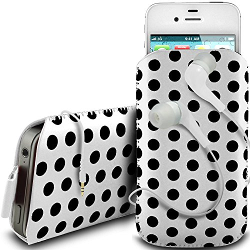 N4U Online - Apple Iphone 4 protection en cuir PU conception Polka Pull Tab cordon glisser Housse Etui avec Quick Release et 3.5mm Casque intra auriculaire - Blanc