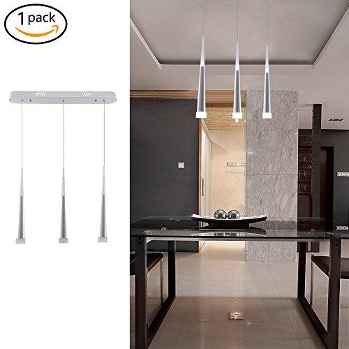 Modern LED Cone Pendant Light,18W up/Down Acrylic Hanging Ceiling Light,3-Light Adjustable Pendant Lighting for Dining Rooms,Kitchen,Living (3 Light Down Lighting)