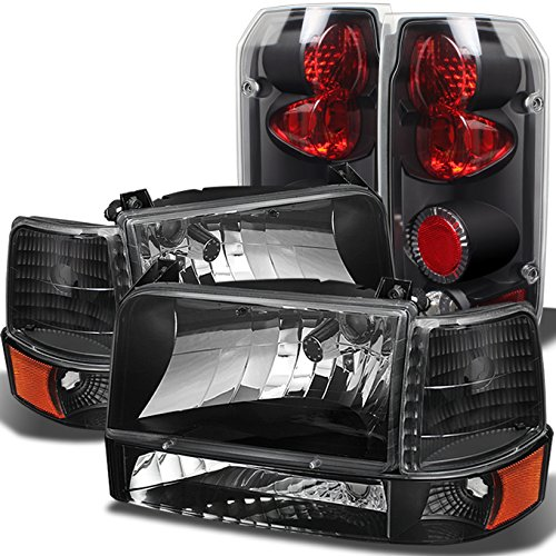 For F150 F250 F350 Bronce Black Headlights Lamps + Corner + Bumper Signal + Black Tail Lights