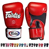 Fairtex Gloves Muay Thai Boxing Sparring BGV1 Size 8, 10, 12, 14, 16 oz in Black, Blue, Red, White, Pink, Yellow, Classic Brown, Emerald Green, Thai Pride, US, Nation, F-Day, Falcon, Breathable and more (Red (Breathable),10 oz)