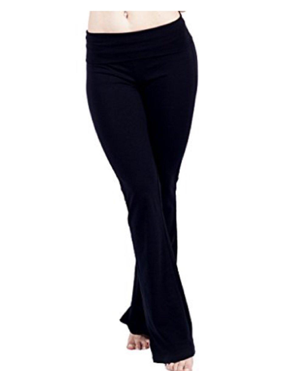 人気Basicsレディースロングヨガパンツwith Colored Fold Over Waist B07CT7MQRJ X-Large|ブラック ブラック X-Large