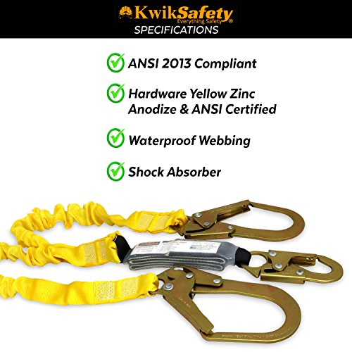 KwikSafety PYTHON | Double Leg 6ft Tubular Stretch Safety Lanyard | OSHA Approved ANSI Compliant Fall Protection | EXTERNAL Shock Absorber | Construction Arborist Roofing | Snap & Rebar Hook Connector by KwikSafety (Image #5)