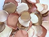 (50) Handmade satin flower petals- cream, rose gold, blush and true gold- special occassion- wedding