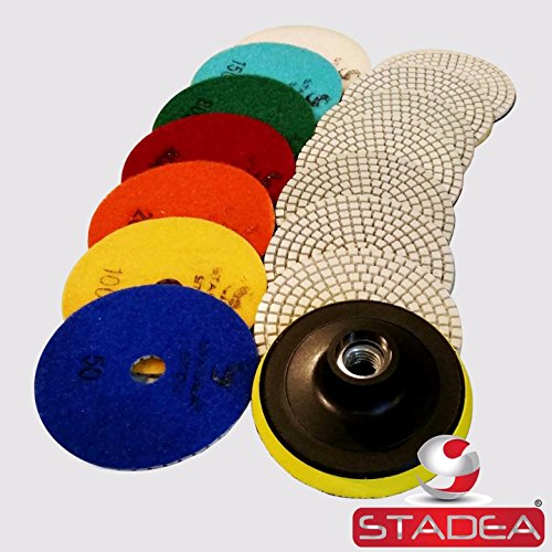 Diamond Polishing Pads 4 inch Wet/Dry 8 Piece Set Granite Stone Concrete Marble (Diamond Polishing The)