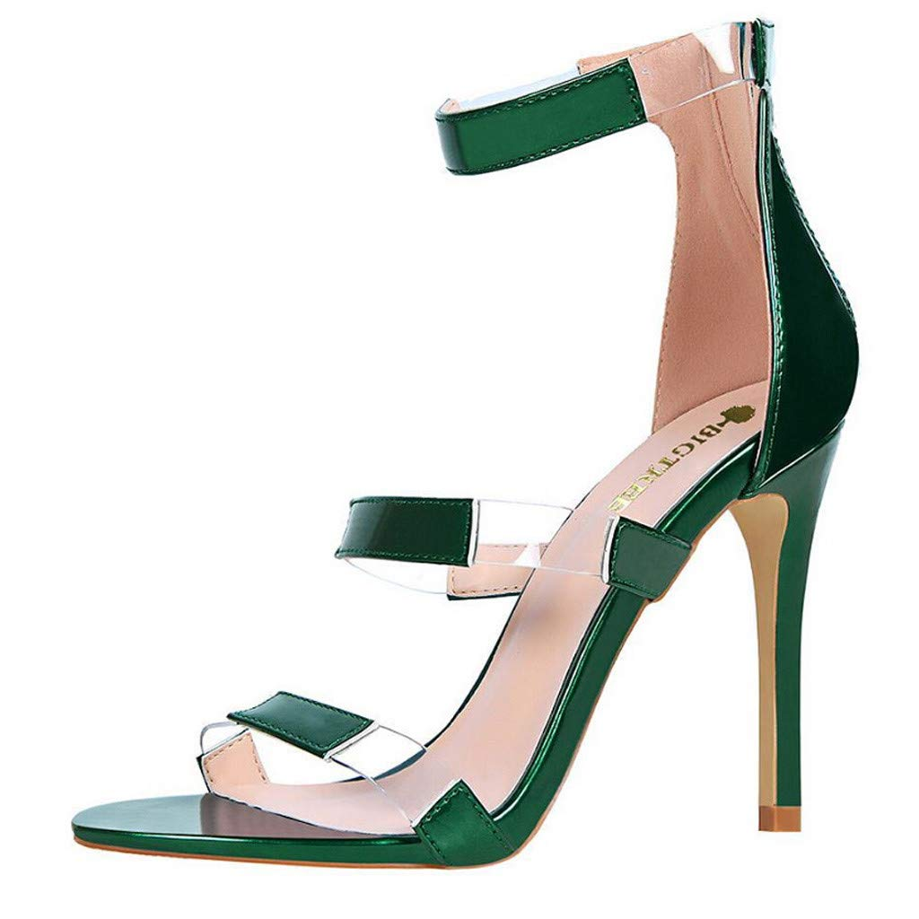 Claystyle Women's High Stiletto Pump Heel Sandals Clear Peep Toe Ankle Strap Sandals(Green,US: 7.5)