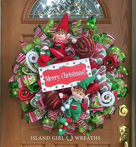 elf wreath merry christmas wreath christmas elf wreath christmas wreaths with elves - Merry Christmas Elf