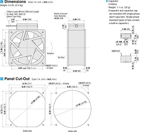 ORIX Three-Phase 200/220/230 VAC Axial Cooling Fan - 7.09 in. (W) X 7.09 in. (H) [180 mm (W) X 180 mm (H)]