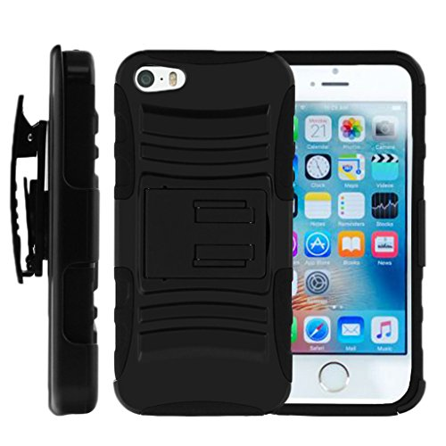 TurtleArmor | Compatible with Apple iPhone SE Case | iPhone 5/5s Case [Hyper Shock] Hybrid Dual Layer Armor Holster Belt Clip Case Kickstand - Black