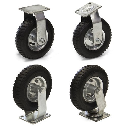 Best-Choice-Products-Set-of-4-8-Air-Tire-Caster-Wheels-2pc-Rigid-2pc-Swivel-Heavy-Duty-Brand-New