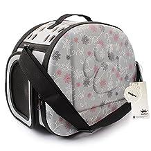 MiNiPet Portable Dog Travel Carrier Cat Cage Soft-Sided Airline Approved Tote Outdoor Shoulder Handbag Pet Bag Grey