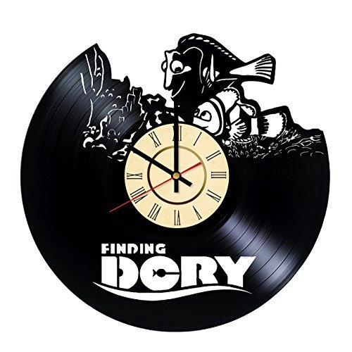 FINDING DORY NEMO Vinyl Record Wall Clock - Get unique kids room wall decor - Gift ideas for boys, girls and kids - Unique Disney Art Design