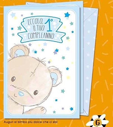Tarjeta Felicitación Dolce Primer Cumpleaños Niño con oso 1 ...