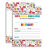 Dance and Play Musical Themed Birthday Party Celebration Fill In Invitations set of 20