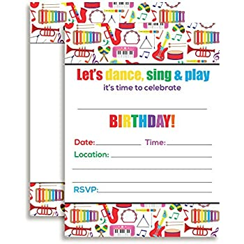 Amazon rock star party large invitations 10 invitations 10 dance and play musical themed birthday party celebration fill in invitations set of 10 filmwisefo