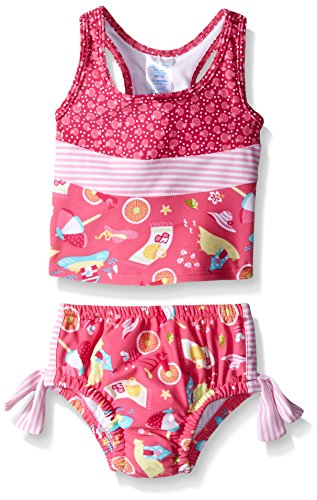i play. Baby Girls' Bow Tankini Swimsuit with Swim Diaper, Hot Pink Cabana, 12 Months