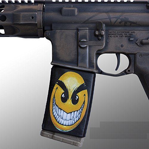 ultimate-arms-gear-4-pack-of-ar-mag-cover-socs-for-30-40rd-polymer-pmag-mags-wild-smile-smiley-face