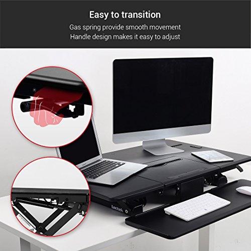 Loctek - Height Adjustable Standing Desk 36'' Wide Platform, Removable Keyboard Tray with Power Strip Holder & USB Port (PL36B) by Loctek (Image #3)