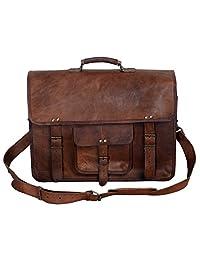 Komal's Passion Leather 18 Inch Men's Vintage Leather Briefcase Laptop Messenger Bag