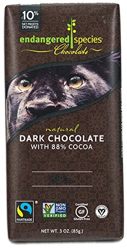 Endangered Species Dark Chocolate (88%), 3-Ounce Bars (Pack of 12)
